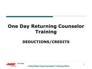 One Day Returning Counselor Training