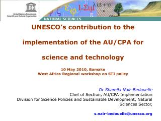 UNESCO's contribution to the  implementation of the AU/CPA for  science and technology