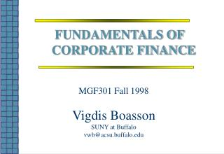 MGF301 Fall 1998 Vigdis Boasson SUNY at Buffalo vwb@acsu.buffalo