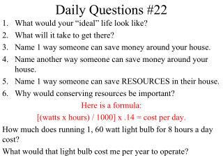 Daily Questions #22