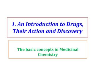 1. An Introduction to Drugs, Their Action and Discovery