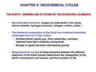 CHAPTER 6: GEOCHEMICAL CYCLES
