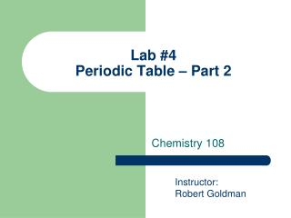 Lab #4 Periodic Table – Part 2