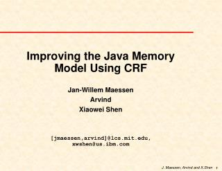 Improving the Java Memory Model Using CRF