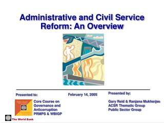 Administrative and Civil Service Reform: An Overview
