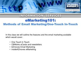 In this class we will outline the features and the email marketing available which would cover:
