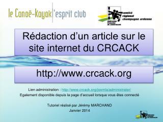 Rédaction d'un article sur le site internet du CRCACK