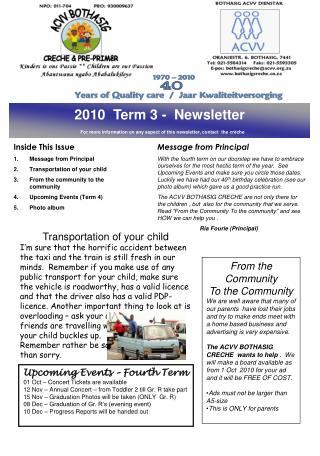 2010  Term 3 -  Newsletter