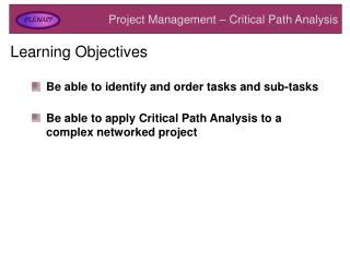 Project Management – Critical Path Analysis