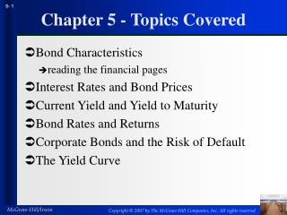 Chapter 5 - Topics Covered