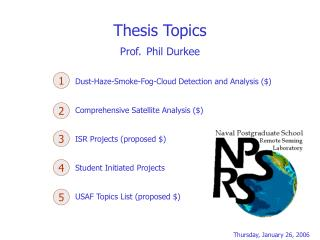 Thesis Topics Prof. Phil Durkee
