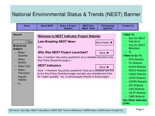 National Environmental Status & Trends (NEST) Banner