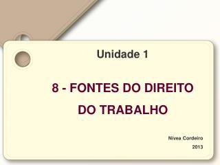 Unidade 1 8 - FONTES DO DIREITO  DO TRABALHO