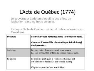 L'Acte de Québec (1774)