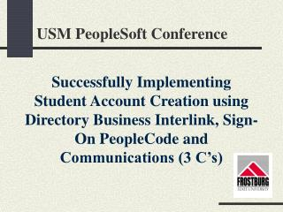 USM PeopleSoft Conference