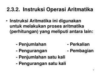2.3.2.  Instruksi Operasi Aritmatika