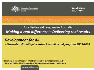 An effective aid program for Australia Making a real difference—Delivering real results