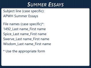 Summer Essays