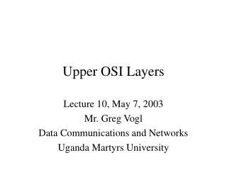 Upper OSI Layers
