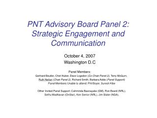 PNT Advisory Board Panel 2:  Strategic Engagement and Communication
