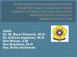 OLEH :         Dr. M. Husni Thamrin, M.Si Dr. Ardiyan Saptawan, M.Si Dwi Mirani, S.IP
