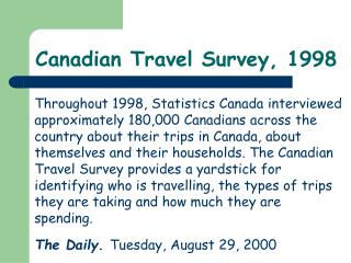 Canadian Travel Survey, 1998