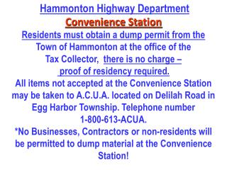 Hammonton Highway Department Convenience Station
