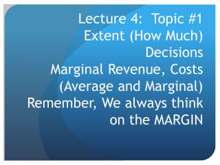 Lecture 4:  Topic 1 – Summary of main points