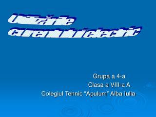 "Grupa  a 4-a Clasa a VIII-a A Colegiul Tehnic ""Apulum"" Alba Iulia"