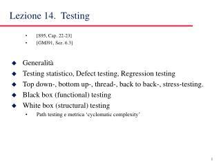 Lezione 14.  Testing