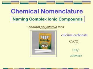 Naming Complex Ionic Compounds