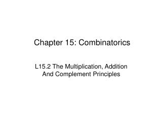 Chapter 15: Combinatorics