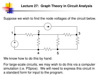 Lecture 27:  Graph Theory in Circuit Analysis