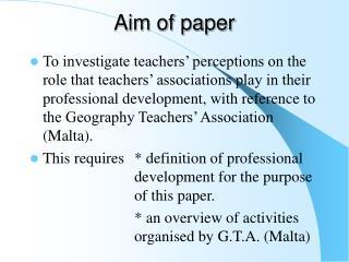 Aim of paper