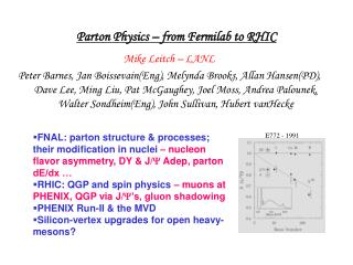 Parton Physics – from Fermilab to RHIC