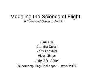 Modeling the Science of Flight A Teachers  Guide to Aviation