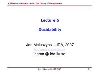 Lecture 6 Decidability