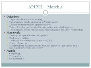 APUSH – March 5