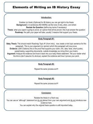 Elements of Writing an IB History Essay