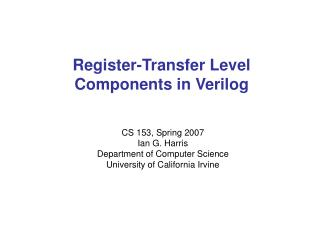 Register-Transfer Level Components in Verilog
