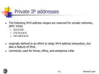 Private IP addresses