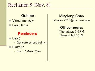 Recitation 9 (Nov. 8)