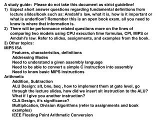 A study guide:  Please do not take this document as strict guideline!