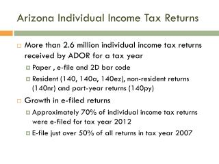 Arizona Individual Income Tax Returns