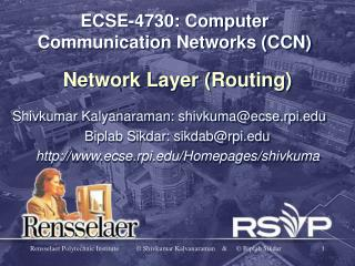 ECSE-4730: Computer Communication Networks (CCN)