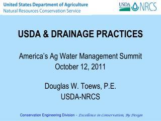 USDA & DRAINAGE PRACTICES
