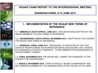 IMPLEMENTATION OF THE WGAAP NEW TERMS OF REFERENCE