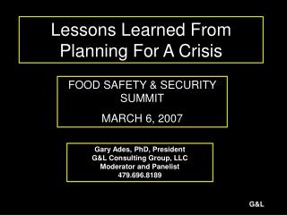 Lessons Learned From Planning For A Crisis