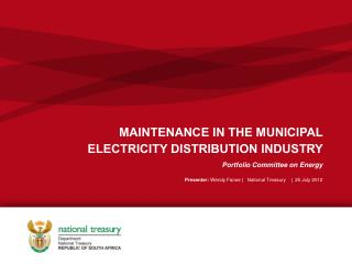MAINTENANCE IN THE MUNICIPAL  ELECTRICITY DISTRIBUTION INDUSTRY