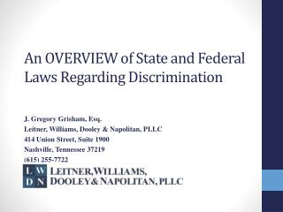 An OVERVIEW  of  State and Federal Laws  Regarding  Discrimination